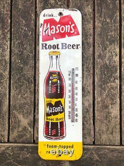 Original Masons Root Beer Thermometer metal sign 60s