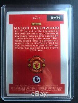 Panini Impeccable Soccer Mason Greenwood Rookie Metal Man United /50 rc SP