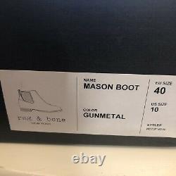 Rag & Bone Mason Gunmetal Silver Ankle Chelsea Boot Size 40 New