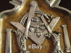 Rare Free Mason Vintage Metal Antique Ashtray Large Square & Compasses Art Deco