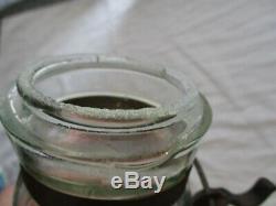 Rare GLOBE Pint Size MAY 25TH 1886 ORIGINAL LID Iron metal band PT SCA MASON JAR