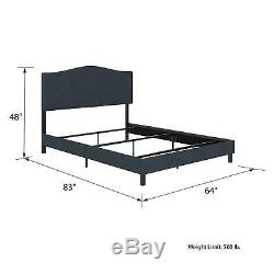RealRooms Mason Upholstered Panel Bed, Queen Size Frame, Blue Linen