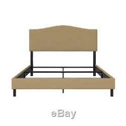 RealRooms Mason Upholstered Panel Bed, Queen Size Frame, Tan Linen