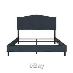 RealRooms Mason Upholstered Panel Bed, Strong Steel Slat Support, Full Size