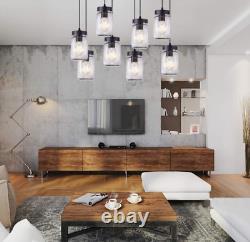 Retro 8-Lights Mason Jar Glass Shade Chandelier Adjustable Hanging Ceiling Light