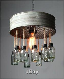 Riddle Sifter Pendant Chandelier Round Metal Rim and Tiny Hanging Mason Jars
