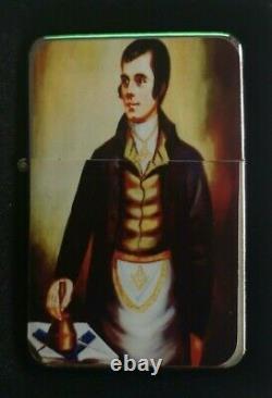 Robert Burns Freemason Masonic Flip Metal Petrol Lighter