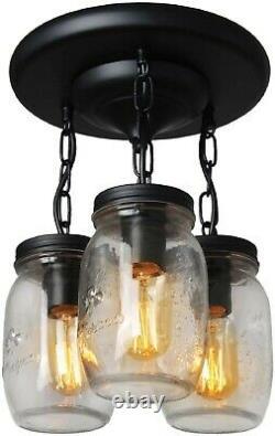 Rustic Farmhouse Lighting Fixture Vintage Industrial Ceiling Flush Mason Jar 3