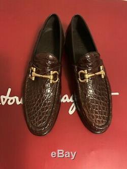 Salvatore Ferragamo Mason 2 Gold Brown Crocodile Skin 0483744 Loafers Shoes 8 D