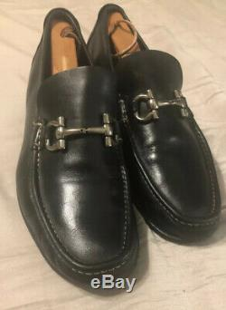 Salvatore Ferragamo Mason Gancini Black Bit Loafers Parigi Shoes Sz 8.5 EE $580