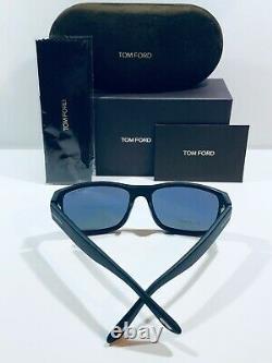 Tom Ford Mason TF445 TF/445 02D Matte Black Rectangle Polarized Sunglasses 58mm