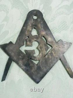 Unused 1800's Metal Masonic Freemason Casket Plaque G with Square &! Compass