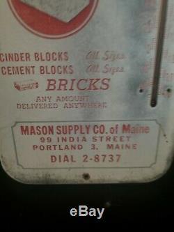 VINTAGE MASON CINDER CEMENT BLOCKS BRICK METAL THERMOMETER SIGN Gas Station