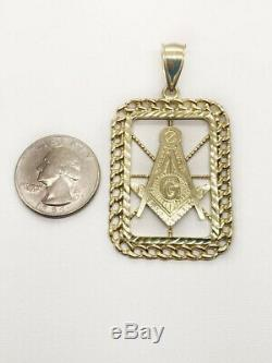 Valentine Gift Men's Solid Metal 14K Yellow Gold Plated Mason Masonic Pendant