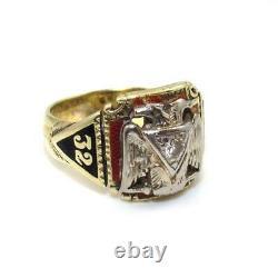 Vintage 14K Yellow Gold Ring Size 9.5 Natural Diamond Masonic Mason 32nd Degree