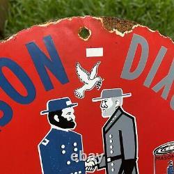 Vintage 1948 Mason Dixon Porcelain Metal Heavy Duty Motor Oil Fuel Gas 12 Sign