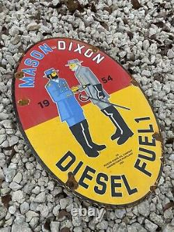Vintage 1954 Mason Dixon diesel fuel Porcelain Metal North South Gas Oil Sign