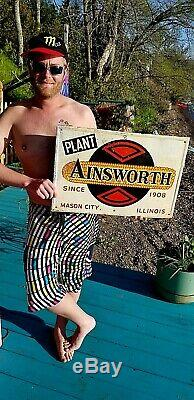 Vintage Ainsworth Seed Corn Pig Cow Feed Metal Sign Mason City IL 24X16