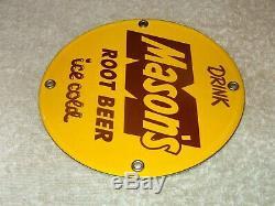 Vintage Drink Mason's Root Beer 5 Porcelain Metal Soda Pop Gasoline & Oil Sign