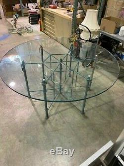 Vintage Mason Jenson's Wrought Iron Table Base with 66 inch Round Glass Top