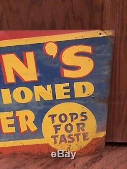 Vintage Scarce Early Masons Root Beer Metal Sign 24 X 12