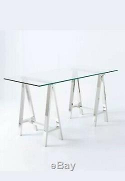 Williams Sonoma Mason Glass Top Desk Polished Nickel Sawhorse Campaign Table
