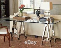 Williams Sonoma Mason Glass Top Desk Polished Nickel Sawhorse Campaign Table 72